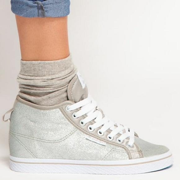 Adidas silver wedge sneakers honey up hidden wedge